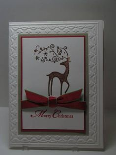 Merry Christmas Dasher by bwstamper - Cards and Paper Crafts at Splitcoaststampers Christmas Paper Crafts, Homemade Christmas Cards, Christmas Cards To Make, Christmas Deer, Xmas Cards, Christmas Greetings, Homemade Cards, Handmade Christmas, Holiday Cards