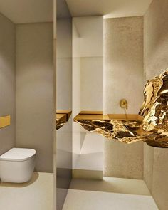 LE COMPTOIR Hennessy private restaurant by FRST Studio Cognac France. That sink is off the chain. Bathroom Spa, Bathroom Toilets, Bathroom Interior, Washroom, Gold Bathroom, Bad Inspiration, Bathroom Inspiration, Interior Inspiration, Modern Interior Design