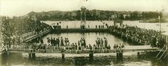 Manly Swimming Baths in the Northern Beaches region of Sydney on 30 October 1926 ~ the opening day. Old Images, Old Photos, Australian Photography, Manly Beach, Historical Images, Paris Skyline, Past, Baths, Explore