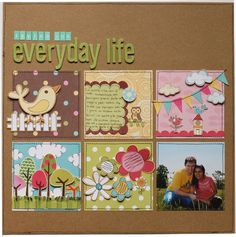 Scrapbooking with square punch #scrapbooking