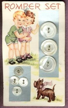 Oh my goodness- how cute are the graphics on this vintage Romper Set Pearl Buttons card! Vintage Cards, Vintage Images, Vintage Ephemera, Button Cards, Button Button, Vintage Sewing Notions, Sewing Baskets, Sewing A Button, Vintage Buttons