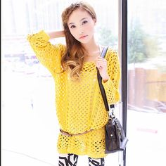 $19.51 long sweater 2013 spring new elegant early autumn models hand-crocheted hollow female sweater -ZZKKO