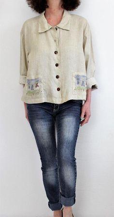 Kiko 100% Linen L Sleeve Button Down Pocket Detailed Shirt Beige Sz L #Kiko #ButtonDownShirt