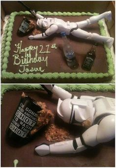 """Based off of the """"Drunk Barbie Cakes"""" for a female on her 21st birthday, I wanted to make a male version of the cake for my man. Using a Ken doll was a little too girly, so I found a character from one of his favorite movies. The puke is simply peanut butter and sprinkles. It was such a hit!"""