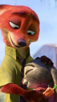 Zootopia Lock Screen • Phone Wallpaper {Nick Wilde hugs Judy Hopps}