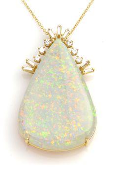 Opal Pendant Necklace Item #475-817  Estate 36.69 ct Australian Crystal Opal Cabochon Pear & 0.78 ctw Diamond Baguette & Round 18K Yellow Gold Pendant Approx.Wt. Length 16 - Gem Shopping Network