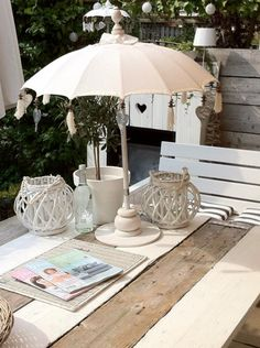 This parasol would look so pretty as center pieces to a trio of tables along with bright flowers. Baby or bridal shower, tea party etc...