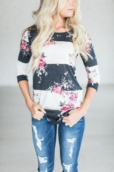 Because... floral tees are the jam, add stripes & HELLO! See Halle's sizing HERE, she is wearing size Small See Margie's sizing HERE, she is wearing size Large