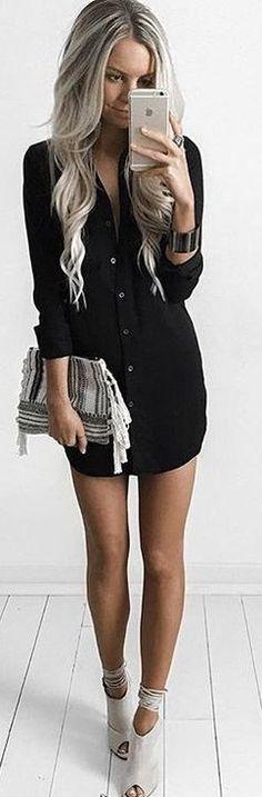 #summer #feminine #outfits | Black Shirt Dress