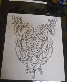 This would be amazing embroidered in gold and black on crimson.  Celtic knot design - Irish dance dress - bodice