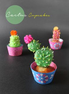 How to make cactus cupcakes for Day of the Dead or Cinco de Mayo #cactus #happythought
