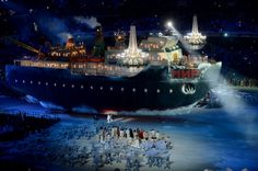 At 40m long, the Ice Breaker, Mir, was the largest single item of scenery we have ever built and have ever flown. More here: http://www.stageone.co.uk/projects/sochi-2014-paralympic-ice-breaker/