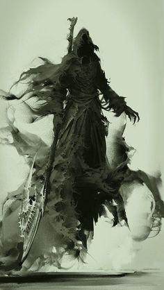 Thanatos IS the grim reaper of Greek mythology. Dark Fantasy Art, Fantasy Kunst, Fantasy Men, Character Art, Character Design, Art Noir, Arte Obscura, Arte Horror, Gothic Horror