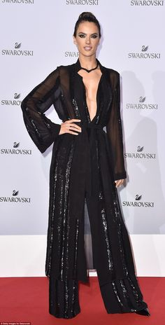 Stealing the show: Alessandra looked every inch the red carpet queen in her decadent one-p...