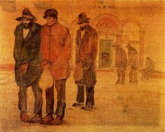"""Lorenzo Viani (Viareggio 1882– Ostia 1936), """"Carcerati"""", 1910-1911. pastelli a olio e matita su carta cm. 100 x 124 Collezione: VARRAUD SANTINI Firmato in basso a sinistra: """"Viani"""""""