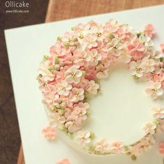 Cherry Blossom cake | Ollicake Korean Buttercream Flower, Buttercream Flower Cake, Cupcakes, Cupcake Cakes, Cherry Blossom Cake, Cherry Blossoms, Buttercream Decorating, Cake Decorating, Gooey Cake