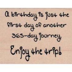 Birthday enjoy the trip rubber stamp