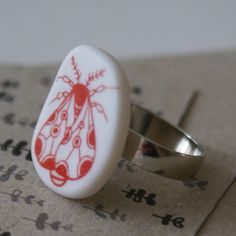 Porcelain ring  moth  red by ArtMind on Etsy, €22.00