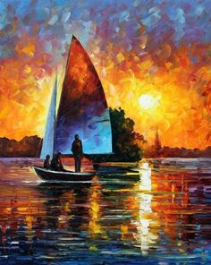 SUNSET BY THE LAKE - PALETTE KNIFE Oil Painting On Canvas By Leonid Afremov