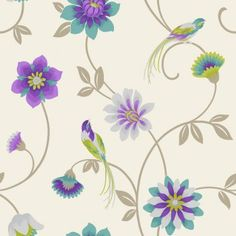 Fine Decor Eden Bird Wallpaper Cream / Purple / Teal / Green