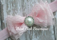 Lace headband, Baby headband, vintage headband, shabby chic roses headband - petti lace romper All sizes many colors. $6.95, via Etsy.