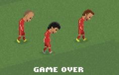 Game over: Spain players look dejected as they trudge off the pitch depicted as video game...