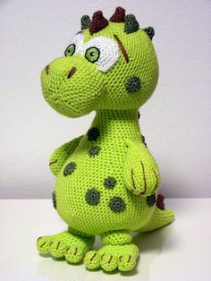Crochet Pattern Dinosaur Lucky Amigurumi PDF Cute Green Dino #affiliate