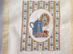 Finished  Counted Cross Stitch Kitchen Bluberry Pie by 2Fun4Words, $12.99
