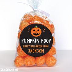 """""""Pumpkin Poop"""" Halloween Favor Stickers - Sheet of 12 or 24"""