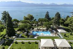 View of Lake Geneva from the Beau-Rivage Palace, Lausanne Hotels And Resorts, Best Hotels, Beau Rivage, Spa, Lake Geneva, Palace Hotel, Private Garden, Lake View, Old Town