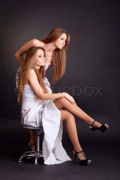 Black Backgrounds, Twins, Stockings, Two Girls, How To Wear, Gemini, Socks, Twin, Pantyhose Legs
