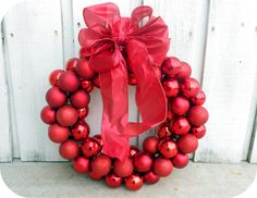 Six Sisters' Stuff: $6 Dollar Wire Hanger Christmas Ornament Wreath and Bow Tutorial (easy way to make wreaths for all seasons)
