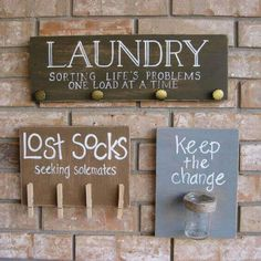 Cool DIY Pallet Signs With Quotes amp; Ideas for Your Beautiful Home I also like the idea of putting a piggy bank in the laundry room for lost change.I also like the idea of putting a piggy bank in the laundry room for lost change. Laundry Room Signs, Laundry Room Organization, Laundry In Bathroom, Sock Organization, Laundry Rooms, Organizing, Laundry Area, Laundry Meme, Bathroom Pics