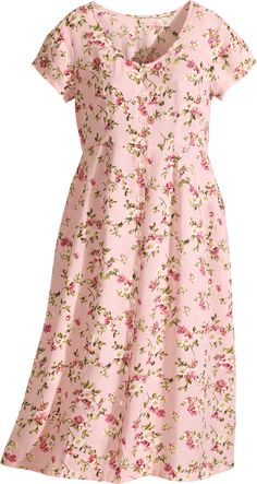 Short sleeve floral print rayon dress is an easy wearing seasonal standout with rounded neckline, full-button front, Empire waist with drawstring-tie back, and side-seam pockets. Modest Dresses Casual, Modest Outfits, Modest Fashion, Summer Dresses, Night Dress For Women, Flowing Dresses, Dress Patterns, Floral Patterns, Textile Patterns