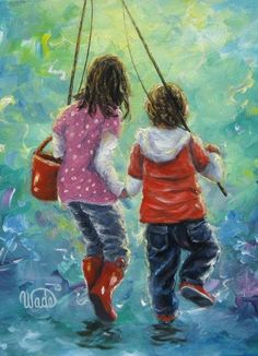 Fishing With Sister Print kids fishing two by VickieWadeFineArt, $26.00