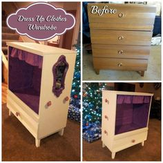 Dress Up Clothes Wardrobe - My husband and I turned this old dresser into a into a wardrobe for our niece to store her dress up clothes in! I also included some handmade dress up clothes and fun pieces from second hand stores. Dress Up Wardrobe, Dress Up Closet, Diy Wardrobe, Dress Up Outfits, Dress Clothes, Bedroom Wardrobe, Diy Bedroom, Diy Dress, Bedroom Storage