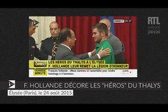 """VIDÉO - Tirs dans un Thalys : François Hollande décore les """"héros"""" de la Légion d'honneur"""