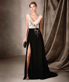 CELESTE - Vestido bicolor comprido e decote em V Pronovias