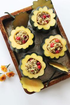 Cranberry & Herb Quinoa Stuffed Acorn Squash with Walnut Parmesan Topping