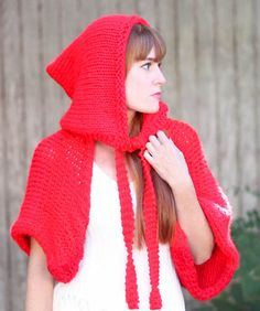 Free Knitting Pattern for Easy Little Red Riding Hood - This beginner level pattern is knit flat in two separate rectangles and then seemed to form a hood and separate wrap. Quick knit in super bulky yarn. Designed by Gina Michele. The ties do require picking up a few stitches but you could also knit separately and sew on. Knit for a quick Halloween costume or as a wrap to wear every day.