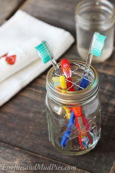 So, so smart! Use a mason jar as an adorable, sanitary toothbrush holder!