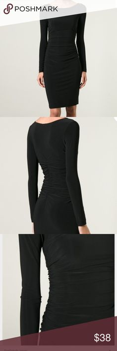 NORMA KAMALI ruched cocktail dress never worn Black, ruched front and back, poly and spandex, size M, NWOT Norma Kamali Dresses Midi
