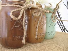 Paint mason jars mint and pink for baby shower decor