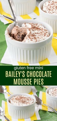 Mini Bailey's Chocolate Mousse Pies - light and fluffy individual Irish Cream pies with a simple gluten free almond meal crust. This decadent boozy dessert recipe is perfect for St. Patrick's Day or any special occasion. #baileys #chocolatemousse #pie #glutenfree via @cupcakekalechip