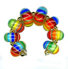 Lampwork Glass Bead Rainbow Stripe Encased Beads by WatkinsStudio, $20.00