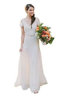Ikerenwedding Women's Double V-neck Lotus Sleeve Chiffon Wedding Party Dress Bridal Gown Ivory US16 Ikerenwedding http://www.amazon.com/dp/B013S4TDSY/ref=cm_sw_r_pi_dp_G0QYvb156X767