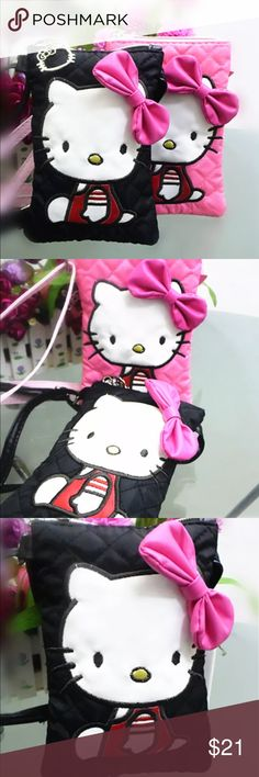 """Hello kitty Crossbody bag new with tags 4.5""""x7"""" with adjustable Crossbody strap. New in bag. Next day shipping. Choose black or pink Hello Kitty Bags Crossbody Bags"""