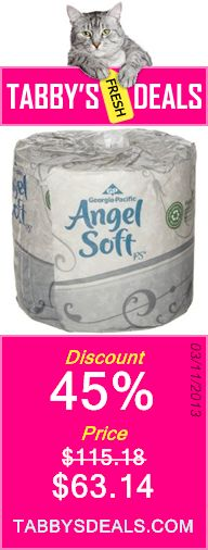 Georgia-Pacific Angel Soft ps 16880 White 2-Ply Premium Embossed Bathroom Tissue, 4.05 Length x 4.5 Width (Case of 80 Rolls, 450 Sheets Per Roll) $63.14