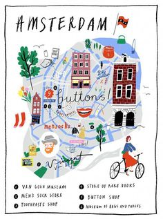 Travel and Trip infographic Amsterdam Illustrated Map Infographic Description Amsterdam Illustrated Map - Infographic Source - Buch Design, Map Design, Travel Design, Travel Maps, Places To Travel, Travel Europe, Reisen In Europa, Amsterdam Travel, Amsterdam Guide