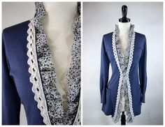 Embellishing a thrift store find cardigan. http://grosgrainfabulous.blogspot.com/2010/11/embellish-knit-month-day-8.html